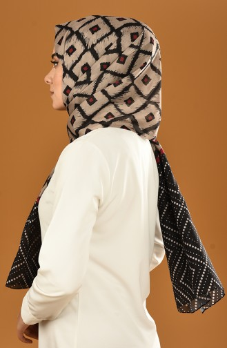 Patterned Cotton Shawl Black Stone Color 95308-06