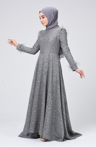 Robe de Soirée a Dentelle 5165-03 Gris 5165-03
