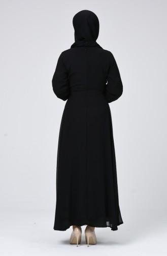 Robe Mousseline à Ceinture 1712-02 Noir 1712-02