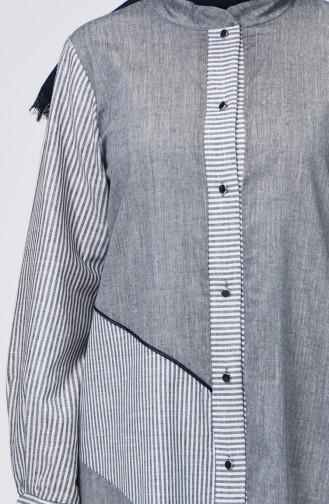 Boydan Düğmeli Çizgili Elbise 4502-03 Gri