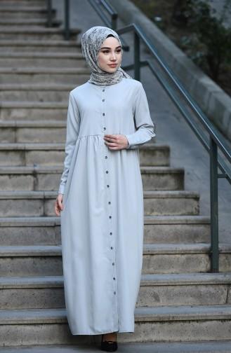 Düğmeli Elbise 5037-12 Gri
