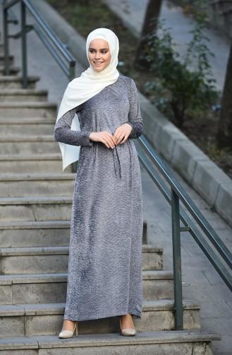 Kadife Beli Büzgülü Elbise 5040-02 Gri