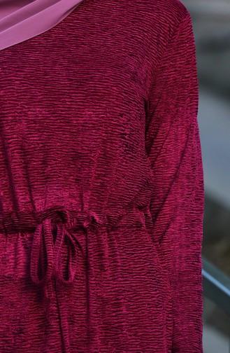 Kadife Beli Büzgülü Elbise 5040-04 Fuşya