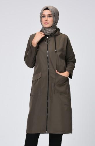 معطف واق من المطر كاكي داكن 1020-03