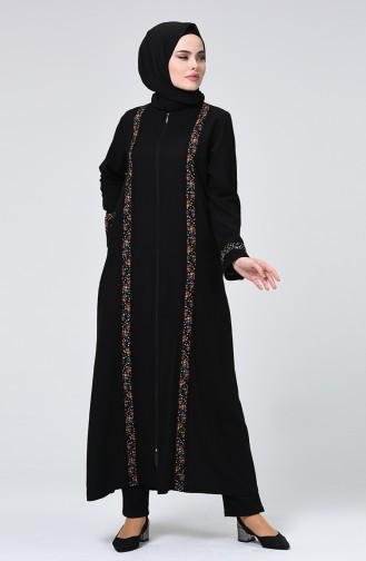 Abaya à Fermeture 0202-02 Noir 0202-02