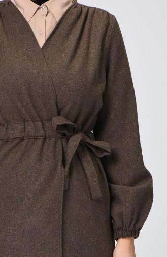 معطف جوخ بربطة على الجانب بني مائل للرمادي داكن 0260-05