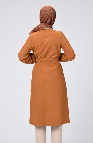 معطف جوخ بربطة على الجانب خردلي 0260-06