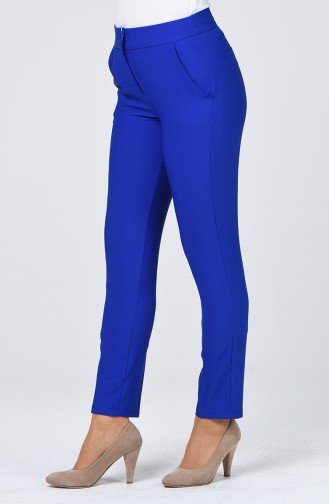 Classic Straight Trousers With Pockets Dark Blue 1113-05