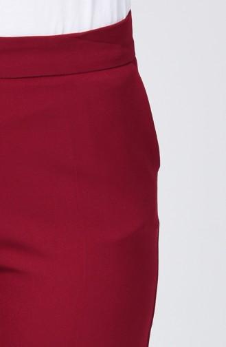 Pantalon Simple avec Poches 2062-07 Bordeaux 2062-07