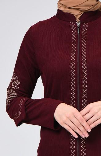 Velvet Embroidered Abaya Damson 61302-01