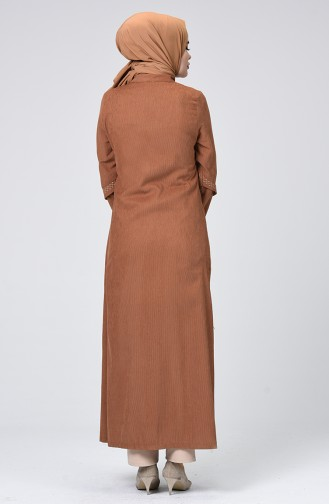 Velvet Embroidered Abaya Mustard 61302-02