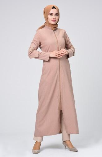 Velvet Embroidered Abaya Beige 61302-05