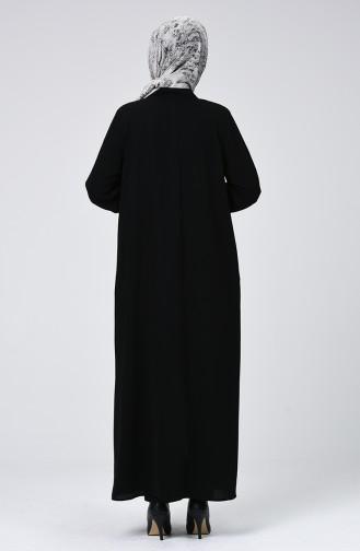 Fermuarlı Ferace 3452-01 Siyah