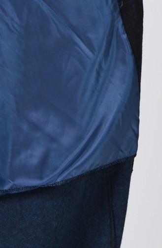 Fleece Mantel mit Pelz 5278A-01 Dunkelblau 5278A-01