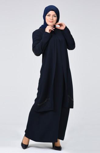 Robe de Soirée Grande Taille 1003-02 Bleu Marine 1003-02