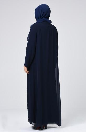 Big Size Strass Printed Evening Dress Navy Blue 6286-01