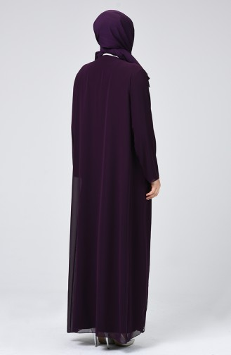 Big Size Strass Printed Evening Dress Purple 6286-02
