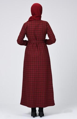Ekose Desenli Kuşaklı Elbise 1218-01 Bordo