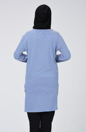 Gestreifte Tunika mit Kapuze 0055-03 Blau Weiss 0055-03