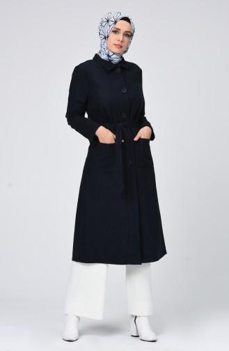 Navy Blue Lange Jas 1298-01