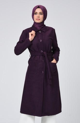 معطف طويل ارجواني داكن 1298-03