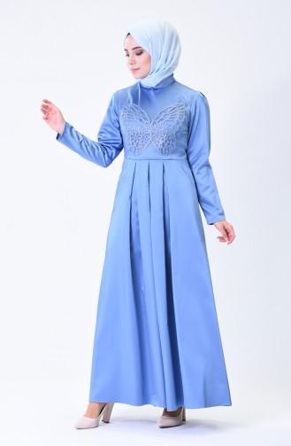 Pileli Saten Abiye Elbise 1008-01 Mavi