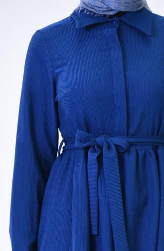 Kuşaklı Fitilli Elbise 3080-01 Saks