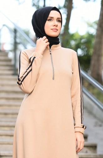 Elastic Sleeve Sport Dress Beige 8074-02