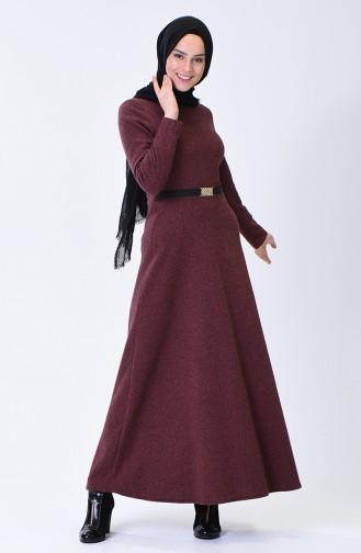 فستان بحزام قرميدي 7128-09