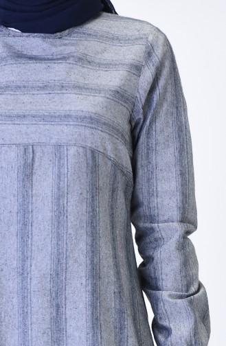 Elastic Sleeve Winter Tunic Gray 1138C-01