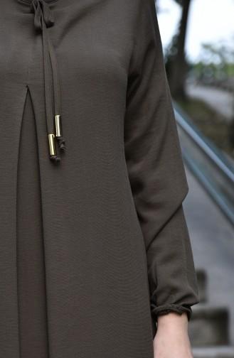 فستان بأكمام مطاط كاكي 8101-01
