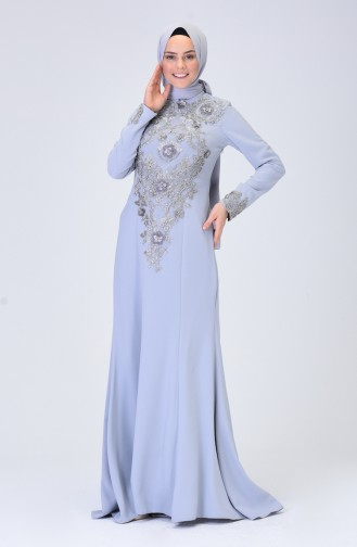 Embroidered Evening Dress Gray 6174A-01