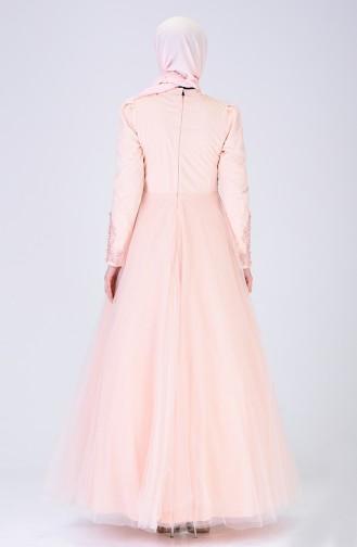 فستان سهرة مزين باللؤلؤ سومون 6173-01
