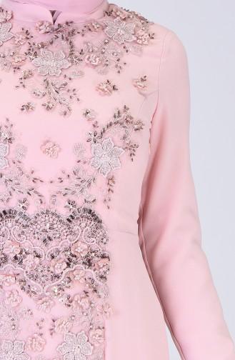 Embroidered Evening Dress Powder 6174-01