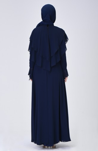 Evening Dress with Cape Navy Blue 6175-01