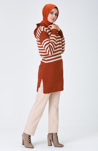Thin Tricot Hooded Tunic Brick 1383-07