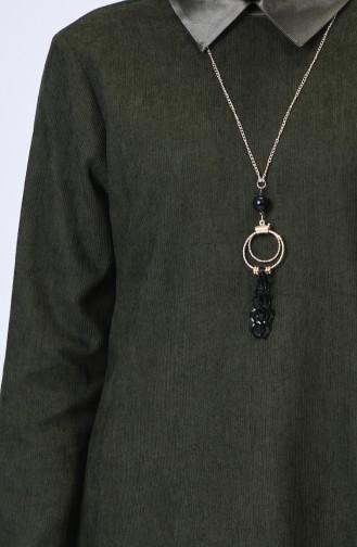 Tunique Velours Avec Collier 5018-04 Khaki 5018-04