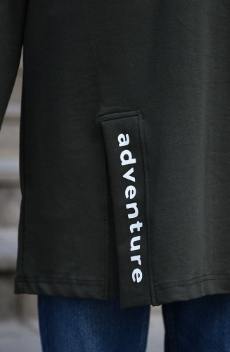 Two Yarn Slit Tunic Khaki 0060-02
