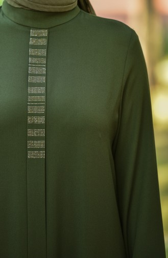 Straight Crepe Dress Khaki 8030-01