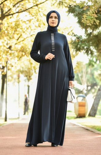 Straight Crepe Dress Navy Blue 8030-04