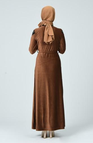 Pullu Kadife Elbise 1254-05 Taba 1254-05