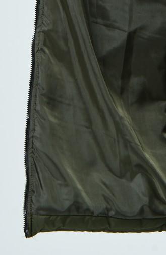 Fur Quilted Waistcoat Dark Green 10108A-04