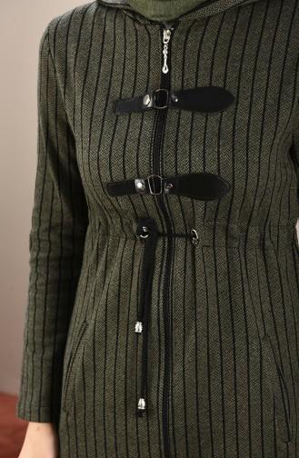 Striped Filt Cape Khaki Green 0001-02