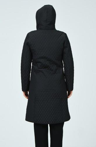 Plus Size Diamond Patterned Coat 0816-01 Black 0816-01