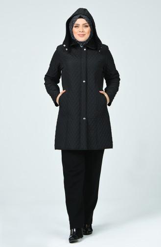 Plus Size Lined Coat 1062-01 Black 1062-01