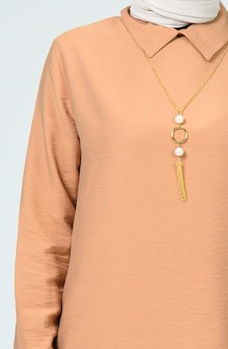 Aerobin Fabric Tunic With Necklace Maroon 5019-04
