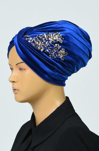 Bonnet Vera en Velours à Paillettes  0039-17 Bleu Roi 0039-17