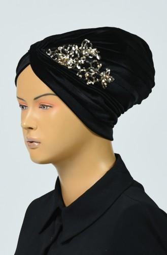 بونيه مخمل مطرزة بالترتر أسود 0039-18