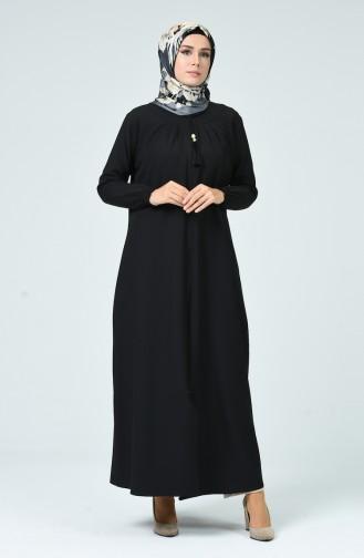 Abaya Plissée 2136-01 Noir 2136-01