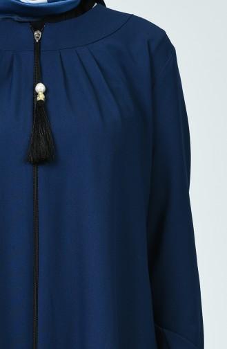 Abaya Plissée 2136-02 Bleu Marine 2136-02